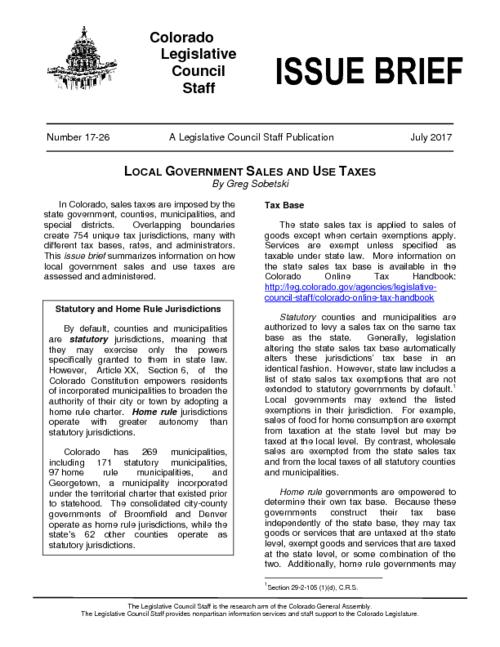Local government sales and use taxes | Colorado State Publications