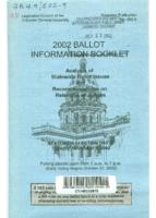 2002 ballot information booklet : analysis of statewide ballot issues and recommendations on retention of judges. No.502-9
