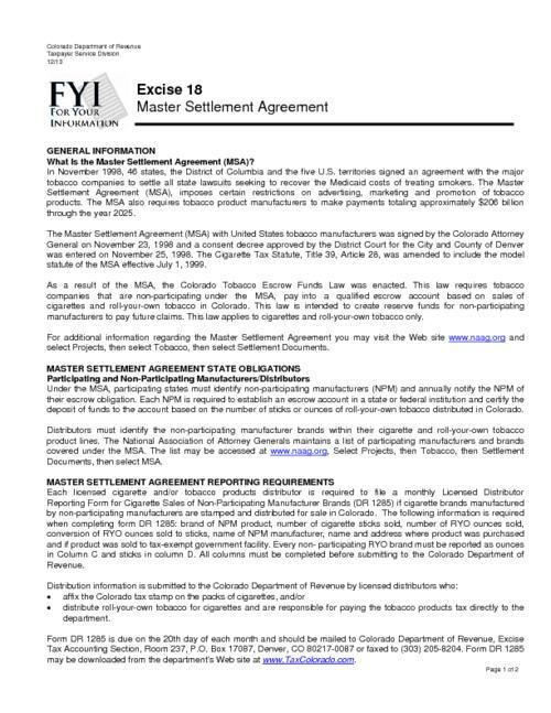 Master Settlement Agreement Colorado State Publications Digital