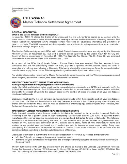 Master Tobacco Settlement Agreement Colorado State Publications