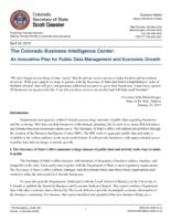 The Colorado business intelligence center : an innovative plan for public data management and economic growth