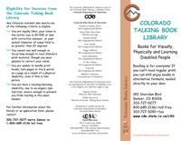 Colorado Talking Book Library : books for visually, physically and learning disabled people