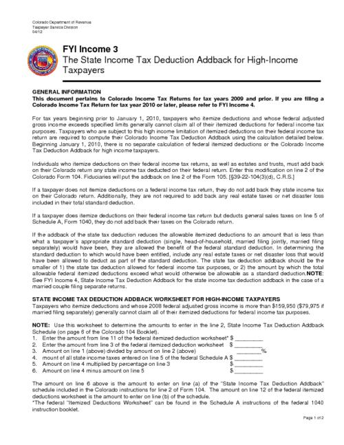 The State Income Tax Deduction Addback For High Income Taxpayers
