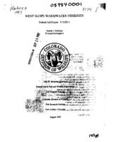 West slope warmwater fisheries - 1997