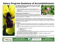 Apiary program summary of accomplishments