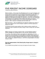 Five percent income disregard : frequently asked questions