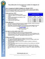 Hoja informativa de el programa de cuidado de indigentes de Colorado