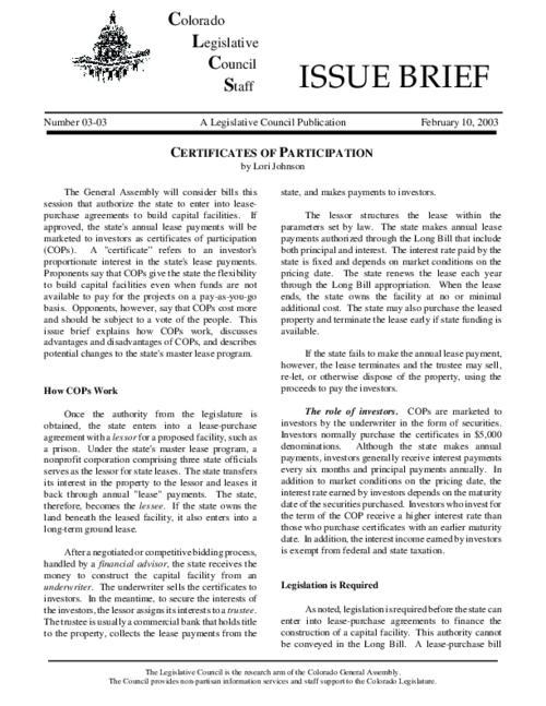 Certificates Of Participation Colorado State Publications Digital
