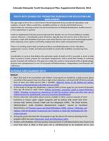 Colorado statewide youth development plan. Youth with Disabilities