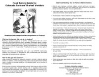 Food safety guide for Colorado farmers' market vendors