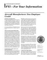 Aircraft manufacturer new employee credit
