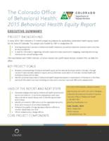 2015 behavioral health equity report. Executive Summary