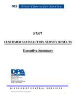 FY07 customer satisfaction survey results. Executive summary