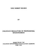 1992 sunset review of Colorado regulation of professional bailbondmen