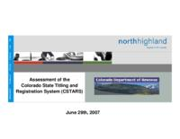 Assessment of the Colorado State titling and registration system, CSTARS