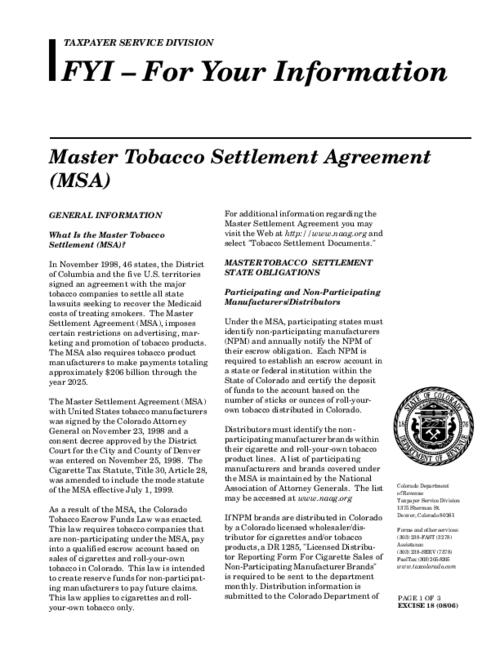 Master Tobacco Settlement Agreement Msa Colorado State