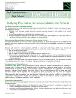 Bullying prevention : recommendations for schools