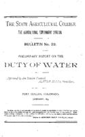 Preliminary report on the duty of water