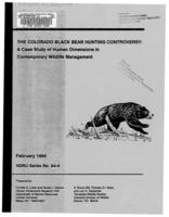 The Colorado black bear hunting controversy : a case study of human dimensions in contemporary wildlife management