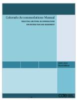 Colorado accommodations manual : selecting and using accommodations for instruction and assessment