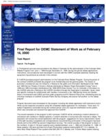 Final report for OEMC statement of work as of February 16, 2000