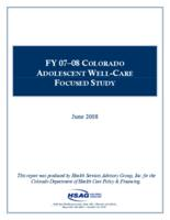 FY 07-08 Colorado adolescent well-care focused study