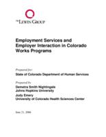 Employment services and employer interaction in Colorado Works Programs