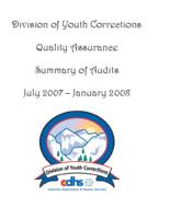 Division of Youth Corrections quality assurance summary of audits July 2007-January 2008