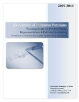 Circulation of initiative petitions : training guide for petition entity representatives & petition circulators : petition circulation procedures & avoiding potential fraudulent activities