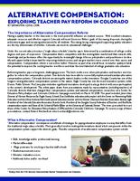 Alternative compensation : exploring teacher pay reform in Colorado