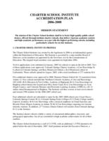 Charter School Institute accreditation plan 2006-2008