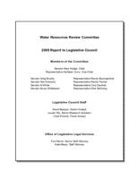Water Resources Review Committee : 2009 report to Legislative Council