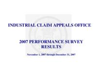2007 performance survey results : November 1, 2007 through December 31, 2007