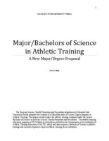 Major/Bachelors of science in athletic training : a new major/degree proposal