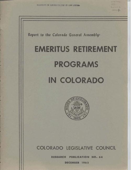 Emeritus Retirement Programs In Colorado  Legislative Council