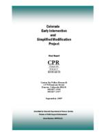 Colorado early intervention and simplified modification project : final report