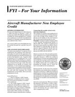 Aircraft manufacturer new employee credit