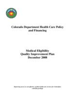 Medical eligibility quality improvement plan, December 2008