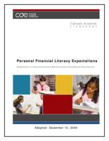 Colorado academic standards. Personal financial literacy expectations : addendum to economics and mathematics standards documents