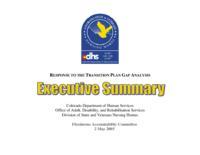 Response to the transition plan gap analysis executive summary
