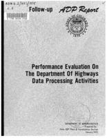 Performance evaluation on the Department of Highways data processing activities