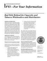Bad debt refund for cigarette and tobacco wholesalers and distributors