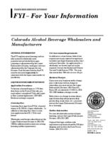 Colorado alcohol beverage wholesalers and manufacturers